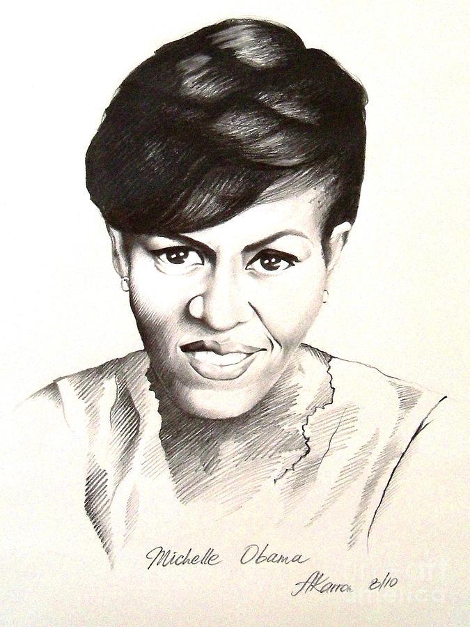 Portrait Painting - Michelle Obama by A Karron