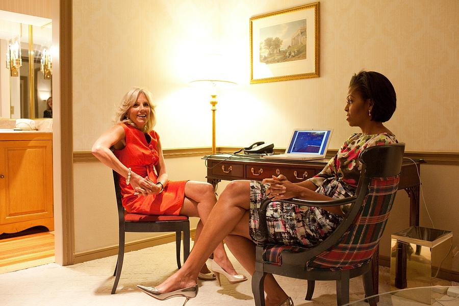 History Photograph - Michelle Obama And Dr. Jill Biden Wait by Everett