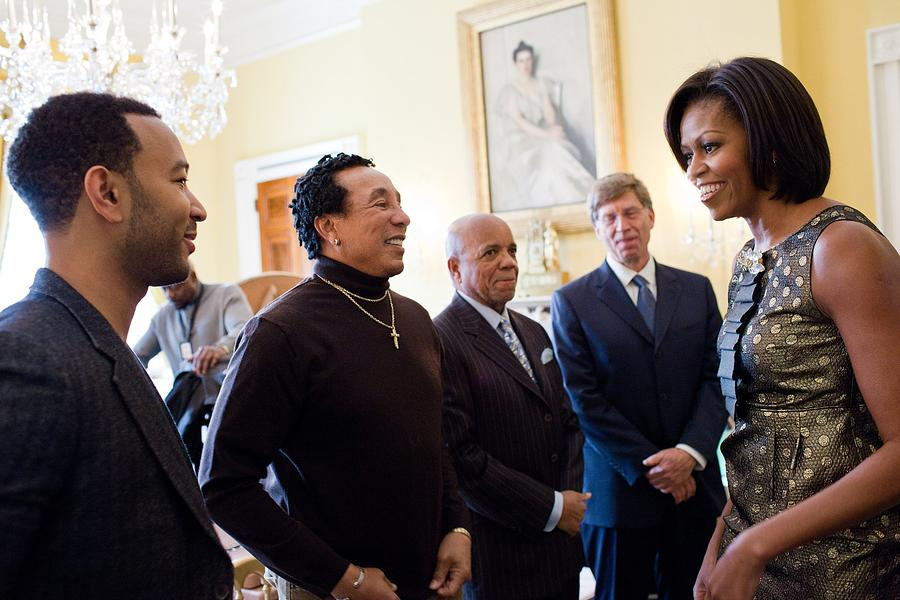 History Photograph - Michelle Obama Greets John Legend by Everett