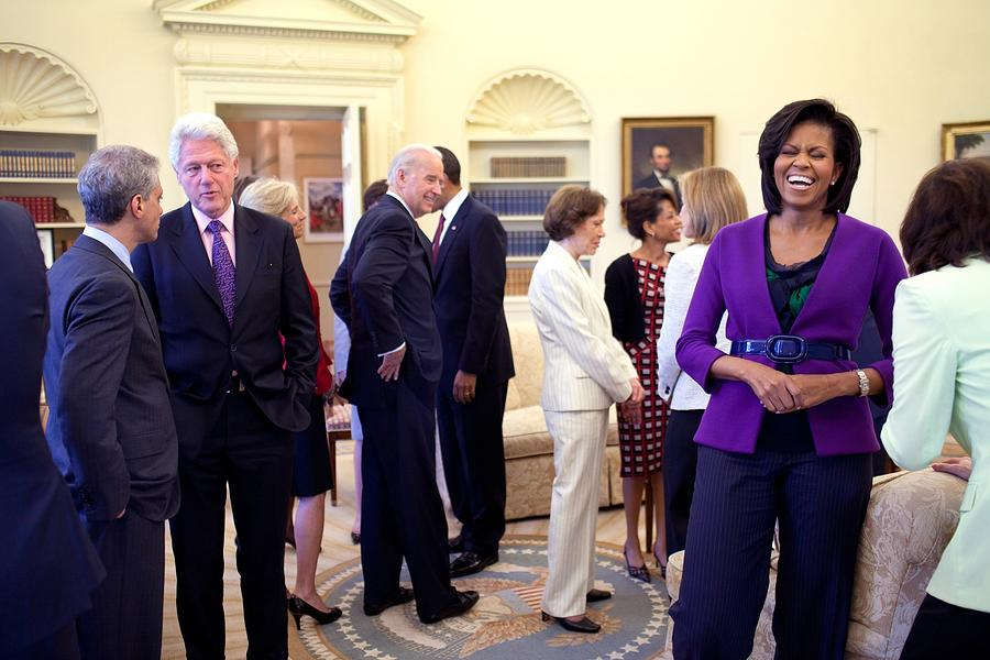History Photograph - Michelle Obama Laughs With Guests by Everett