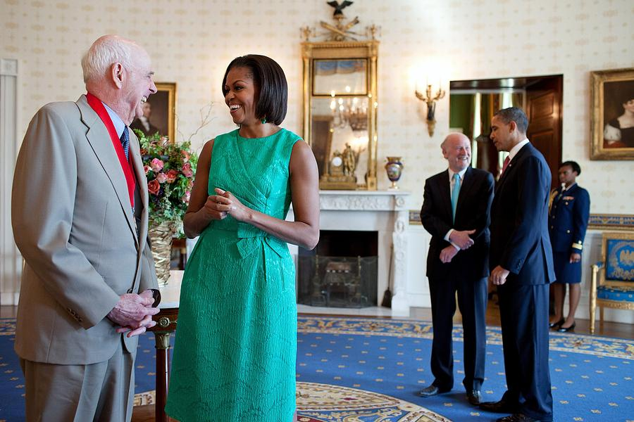 History Photograph - Michelle Obama Laughs With National by Everett