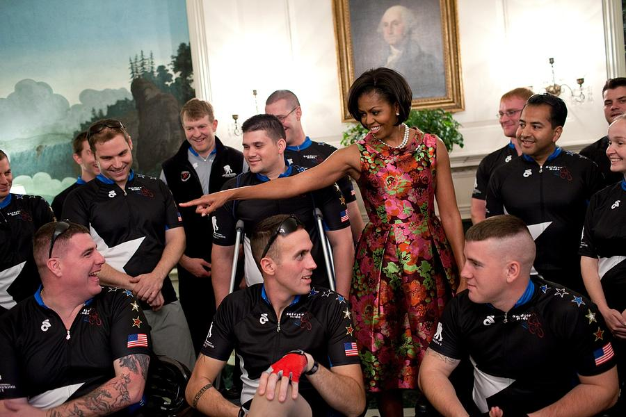 History Photograph - Michelle Obama Talks With Participants by Everett