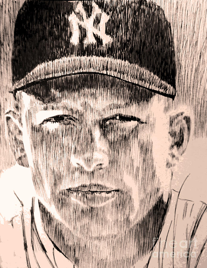 Yankees Drawing - Mickey Mantle by Robbi  Musser