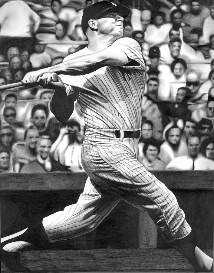 Mickey Mantle Drawing - Micky by Jerry Winick