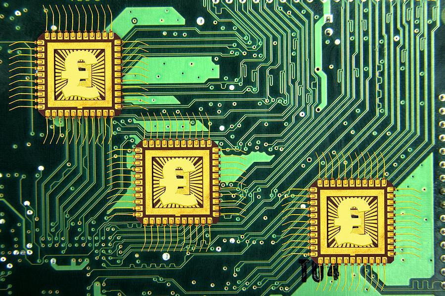 Microchip Photograph - Microchip Sales, Conceptual Image by Victor De Schwanberg