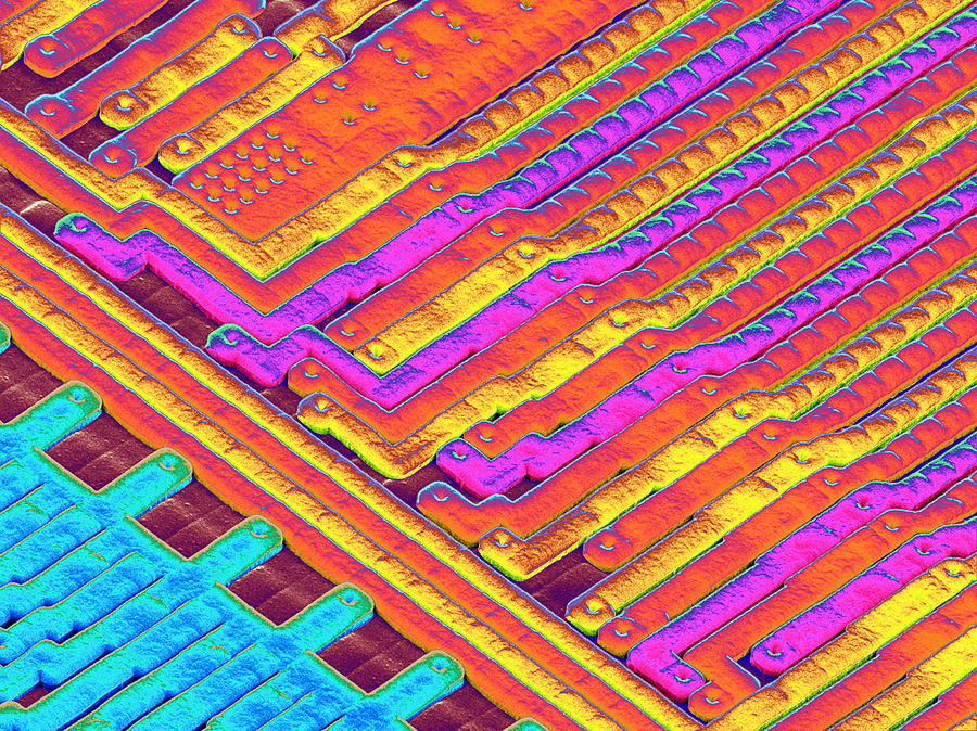 Microchip Photograph - Microchip Surface, Sem by Power And Syred