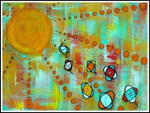 Modern Abstract Space Painting - Microcosmic- Race For The Sun by Debra Jacobson