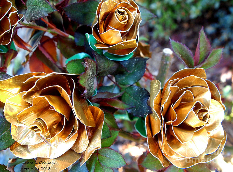 Roses Photograph - Midas Touch Duck Tape Roses by Laura  Grisham