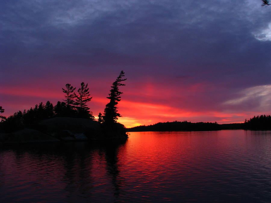 Adk Photograph - Middle Saranac Lake Sunset by Evan Williams