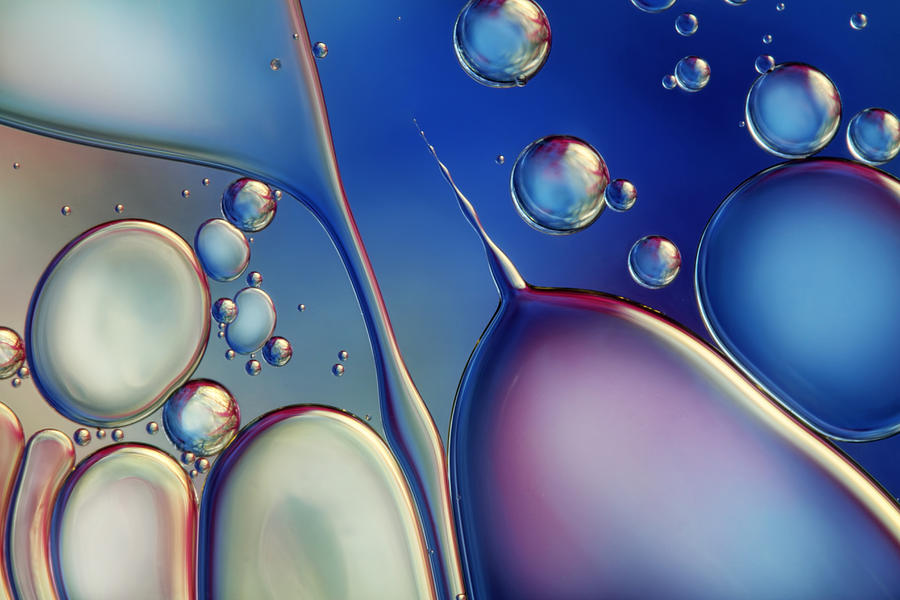 Oil Photograph - Midnight Blue Bubble Abstract by Sharon Johnstone