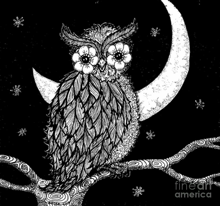 This is a picture of Persnickety Birds In The Moon Drawing