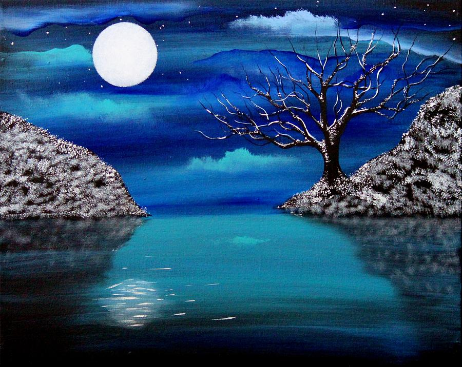 Landscape Painting - Midnight Reflection by Angie Phillips