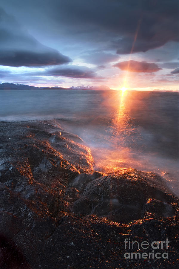 Cloud Photograph - Midnight Sun Over Vågsfjorden by Arild Heitmann