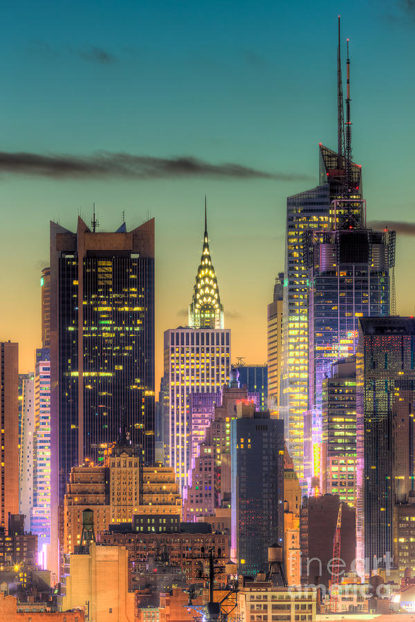 America Photograph - Midtown Buildings Morning Twilight by Clarence Holmes