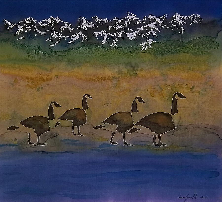 Landscape Tapestry - Textile - Migration Series Geese 2 by Carolyn Doe