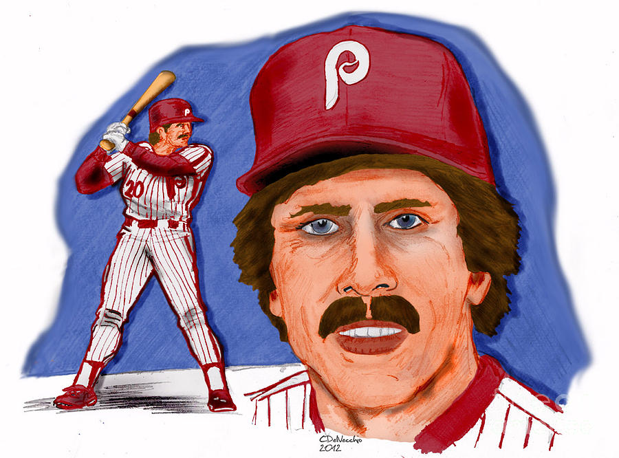 Phillies Drawing - Mike Schmidt-color by Chris  DelVecchio