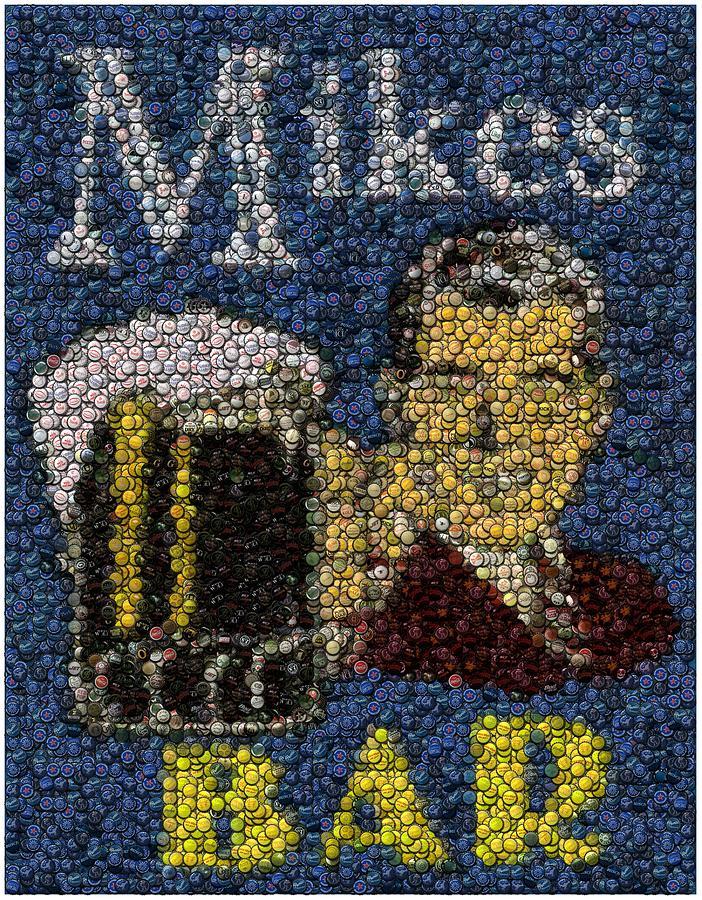 Mike Digital Art   Mikes Bar Bottle Cap Mosaic By Paul Van Scott