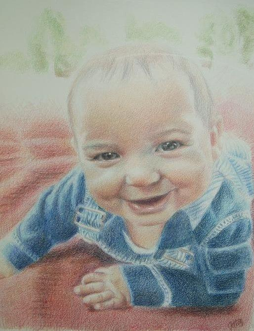 Baby Drawing - Miles by Joanna Gates