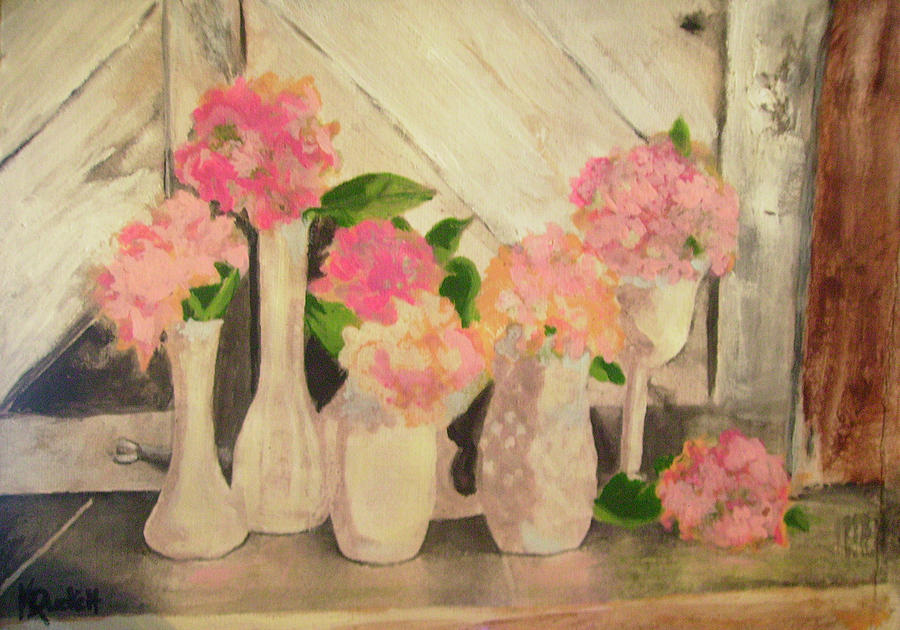 Floral Painting - Milk Glass Vases With Flowers by Kemberly Duckett