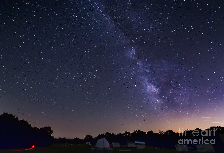 Astronomy Photograph - Milky Way And Perseid Meteor Shower by John Davis