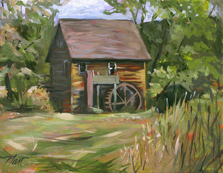 Landscape Painting - Mill In The Meadow by Nancy Griswold