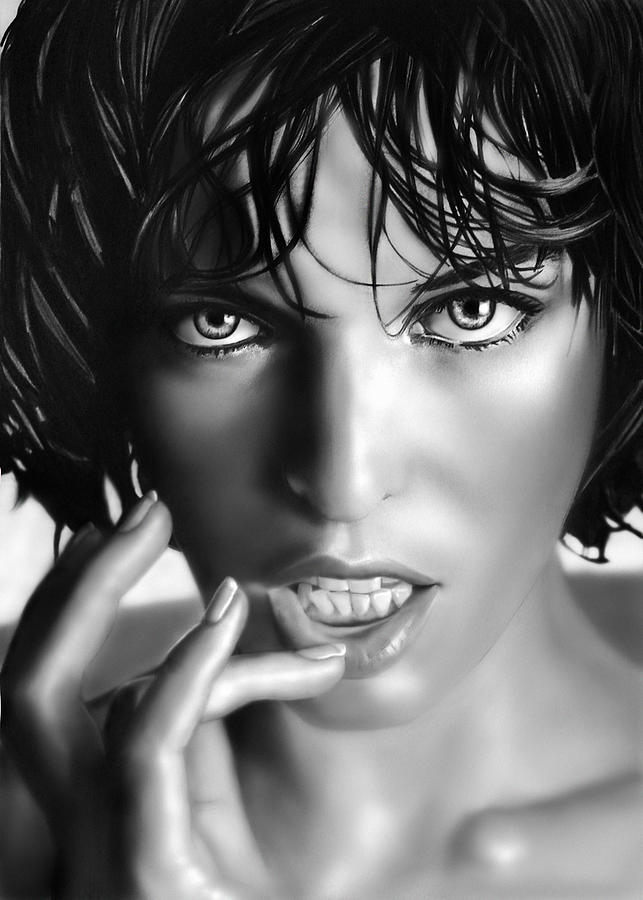 Actress Digital Art - Milla Jovovich by Catherin Moon
