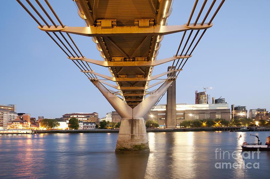 Architectural Detail Photograph - Millennium Bridge And Tate Modern At Twilight by John Harper