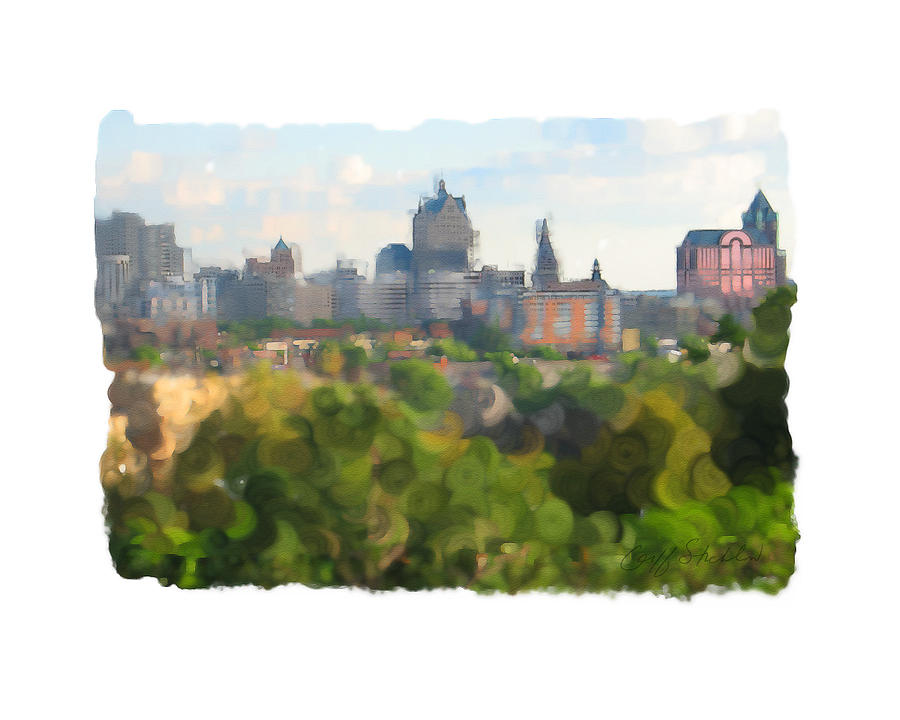 Milwaukee From Resevoir Park Digital Art by Geoff Strehlow