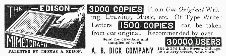1890 Photograph - Mimeograph Ad, 1890 by Granger