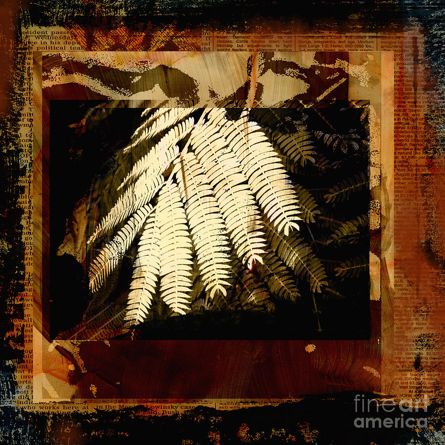 Earth Tones Mixed Media - Mimosa Leaf Collage by Ann Powell
