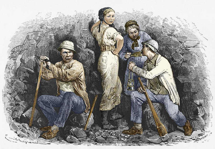 Human Photograph - Miners And Their Wives, 19th Century by Sheila Terry