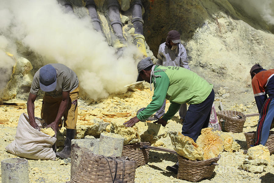 Java Photograph - Miners Collecting Lumps Of Sulphur by Richard Roscoe