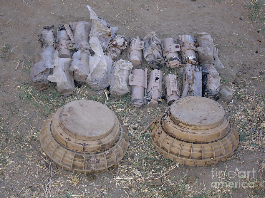 Battlefield Photograph - Mines And Grenades by Stocktrek Images