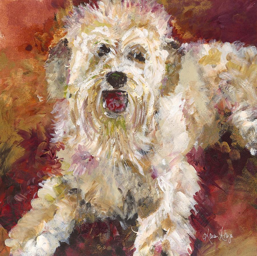 Dog Painting - Mini Doodle Impression by Karen Ahuja