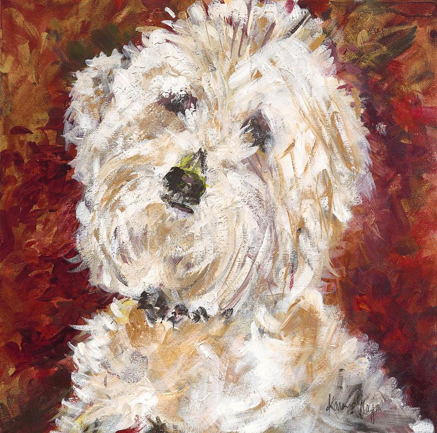 Dog Painting - Mini Doodle Portrait by Karen Ahuja