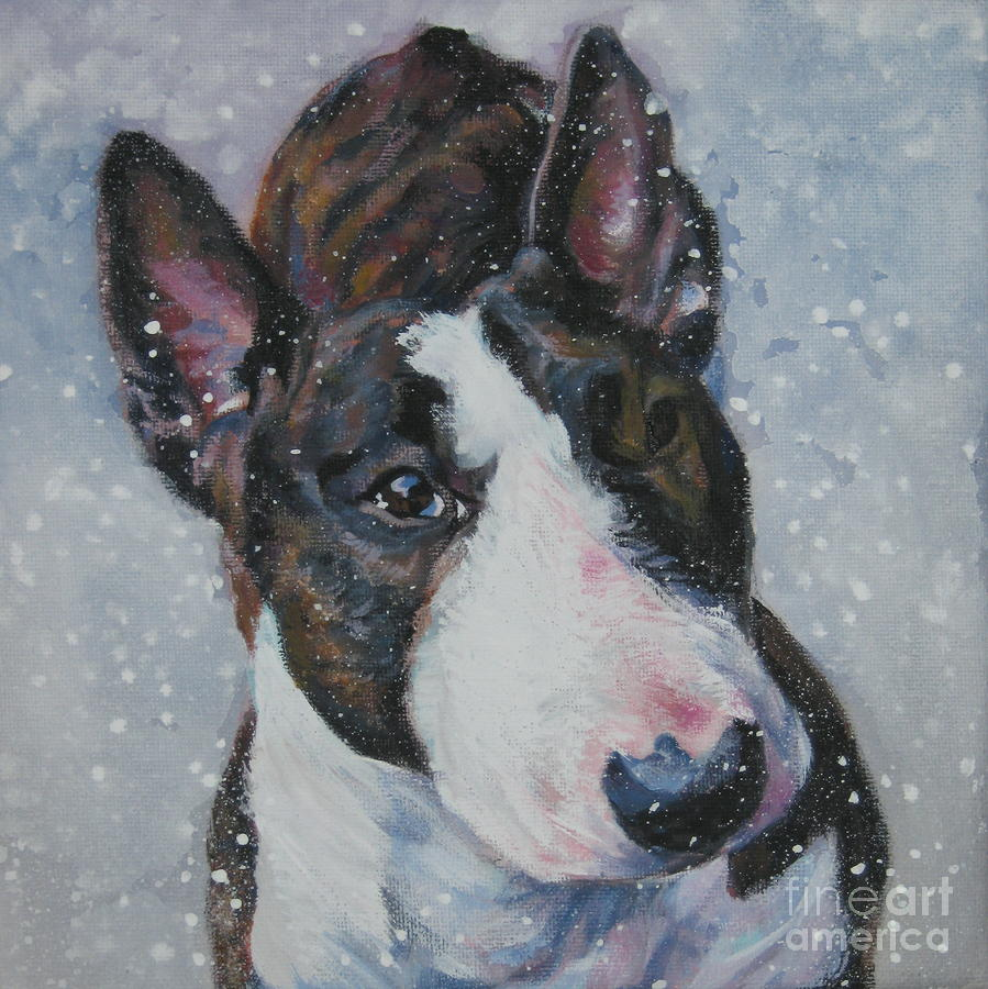 bull terrier artist miniature bull terrier in snow by lee ann shepard 6163