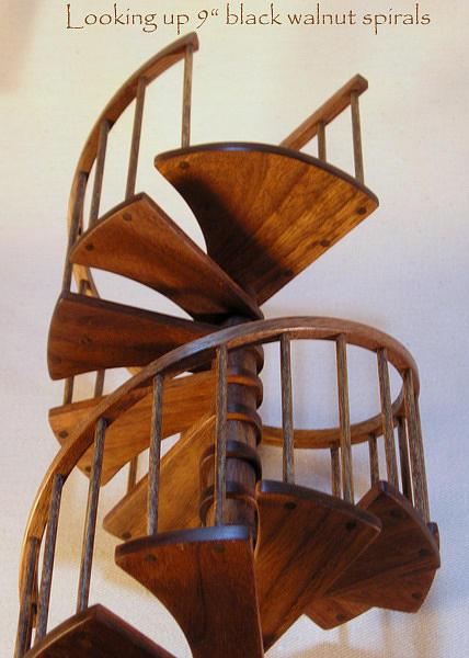 Architectural Model Sculpture   Miniature Walnut Spiral Staircase By Don  Lorenzen