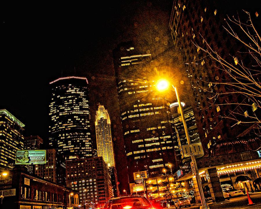 Mpls. At Night Digital Art - Minneapolis Night Lights by Susan Stone