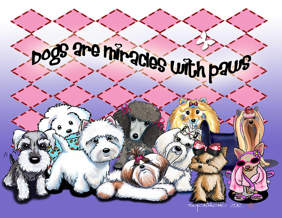 Cartoon Mixed Media - Miracles With Paws by Catia Cho