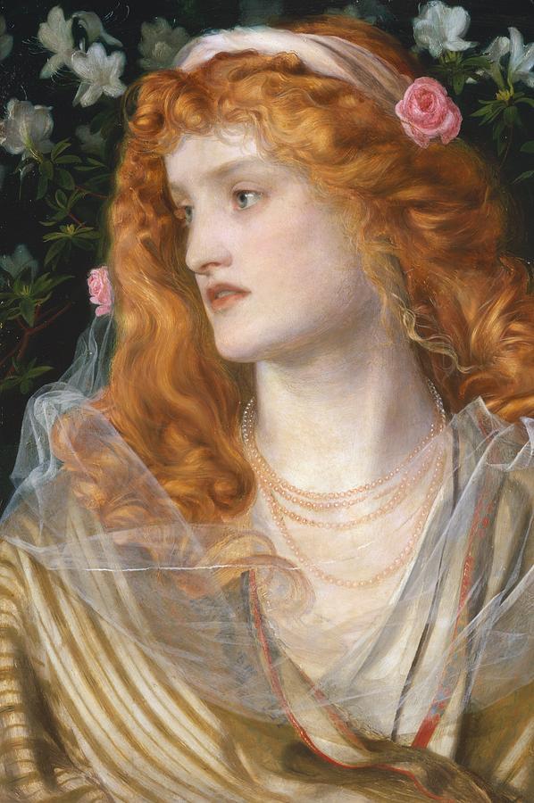 Pre-raphaelite; Victorian; Female; Veil; Auburn; Redhead; Red-haired; Heroine; The Tempest; Shakespeare; Literature Painting - Miranda by AFA Sandys