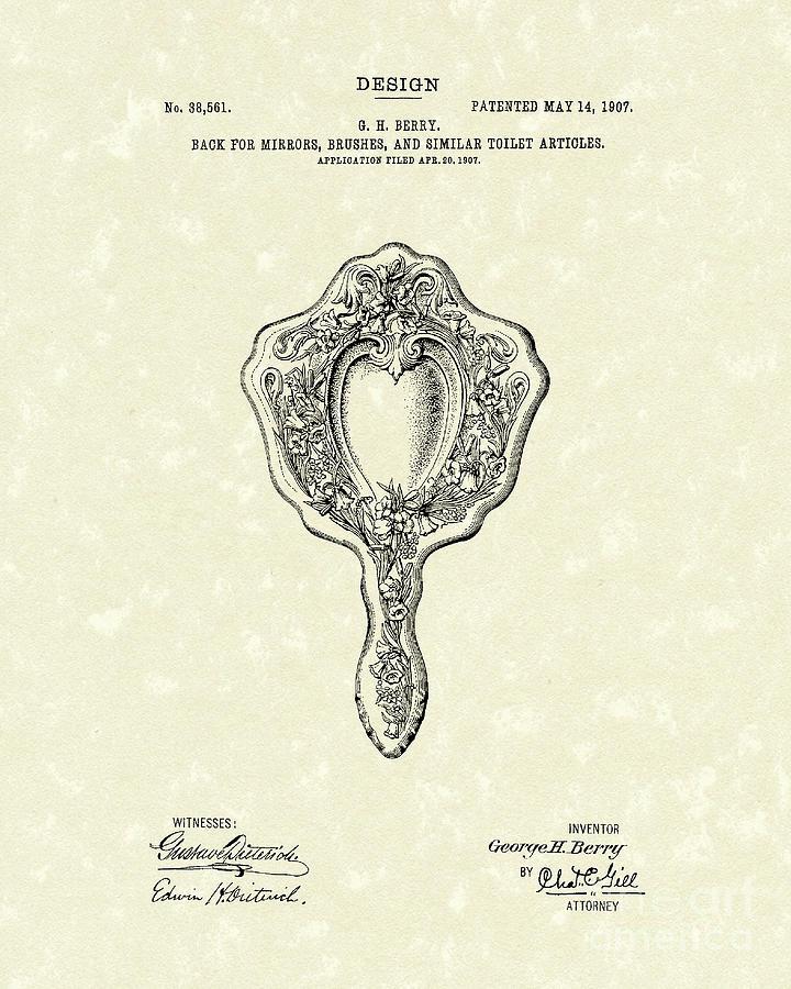 Design Drawing - Mirror Back Design I 1907 Patent Art by Prior Art Design