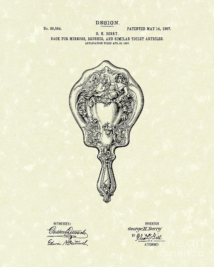 Design Drawing - Mirror Back Design I I I 1907 Patent Art  by Prior Art Design