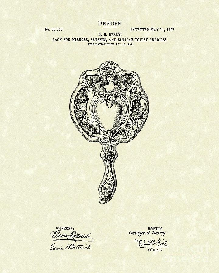 Design Drawing - Mirror Back Design II 1907 Patent Art by Prior Art Design