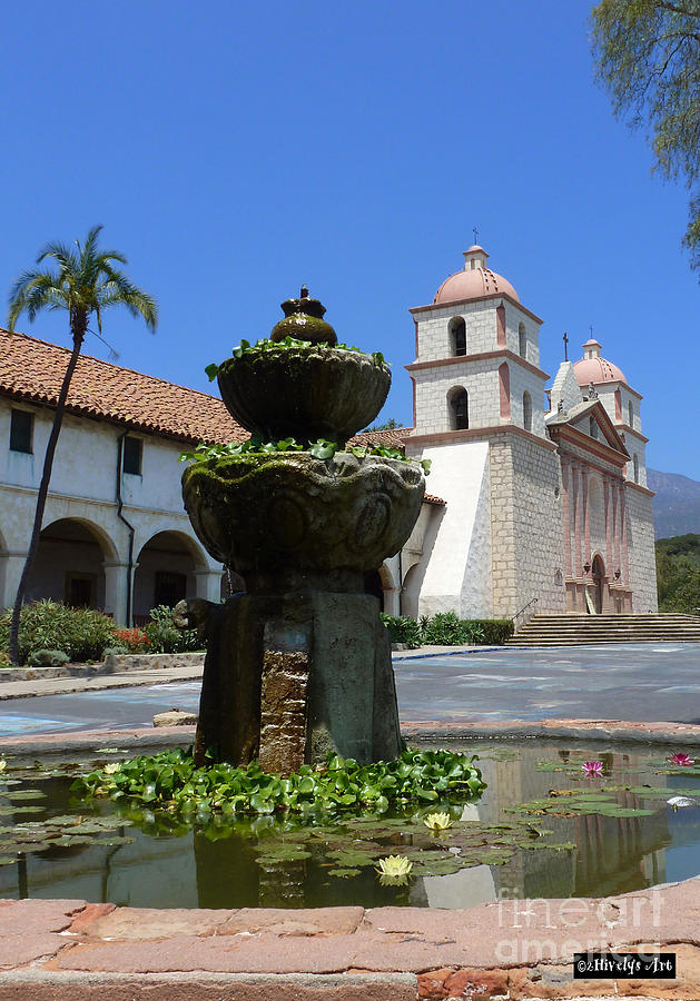 Santa Barbara Photograph - Mission Fountain by Methune Hively