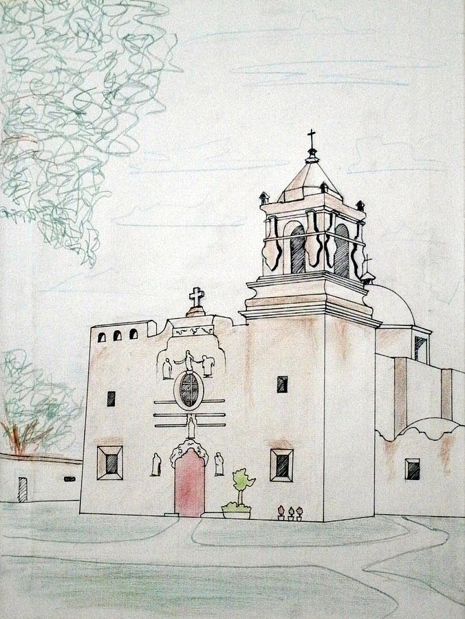 Mission San Jose Drawing By Marc Pouhe