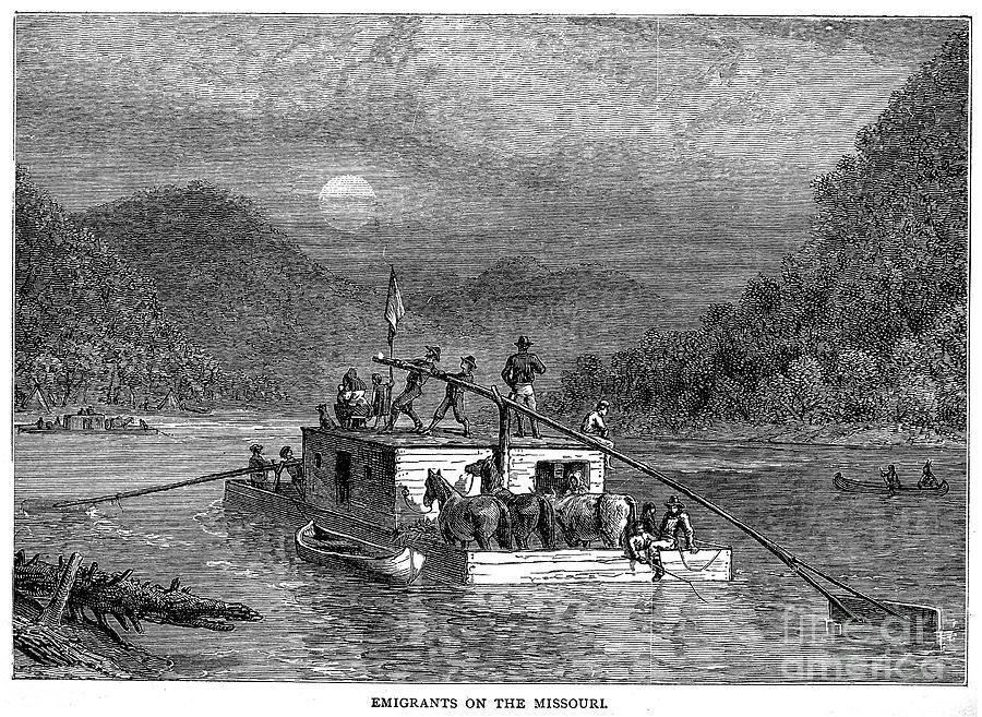 19th Century Photograph - Missouri River: Flatboat by Granger