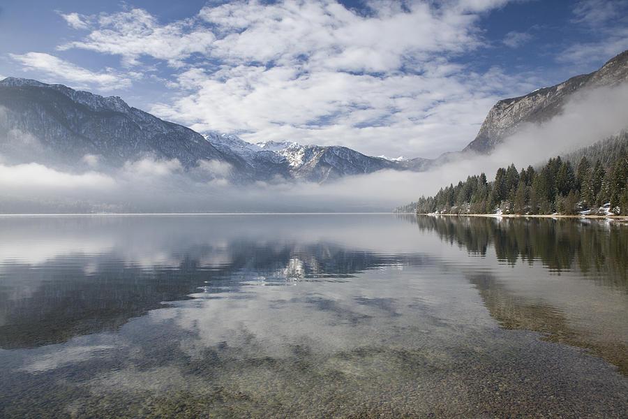 Bohinj Photograph - mist burning off Lake Bohinj by Ian Middleton