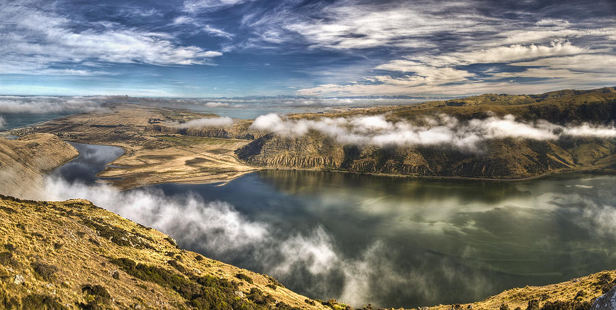 Mist Over Lake Forsyth In Canterbury Photograph by Colin Monteath
