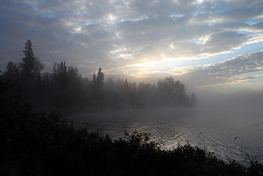 Boot Lake Photograph - Misty Dawn On Boot Lake by Larry Ricker