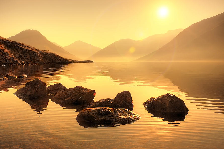 Bay Photograph - Misty Lake by Svetlana Sewell